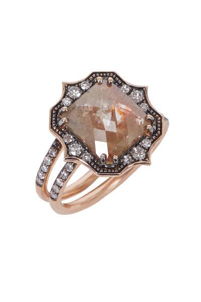 Sylva & Cie - Rose Gold Rough Diamond Cocktail Ring