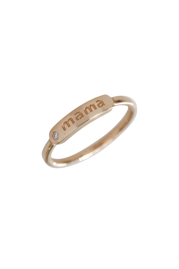 My Story Jewel 14K Yellow Gold Mama Single Diamond Ring