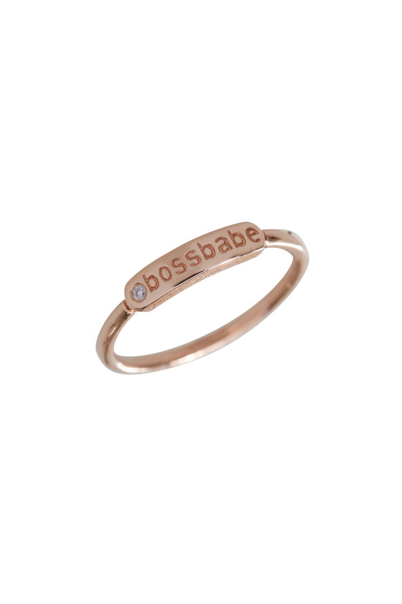 My Story Jewel 14K Rose Gold Boss Babe Single Diamond Ring