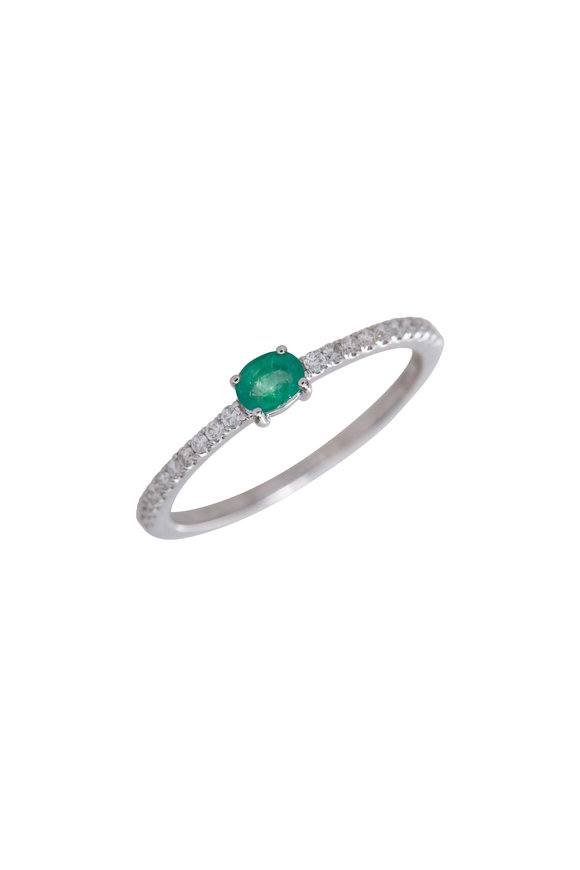 My Story Jewel 14K White Gold Diamond & Emerald Ring