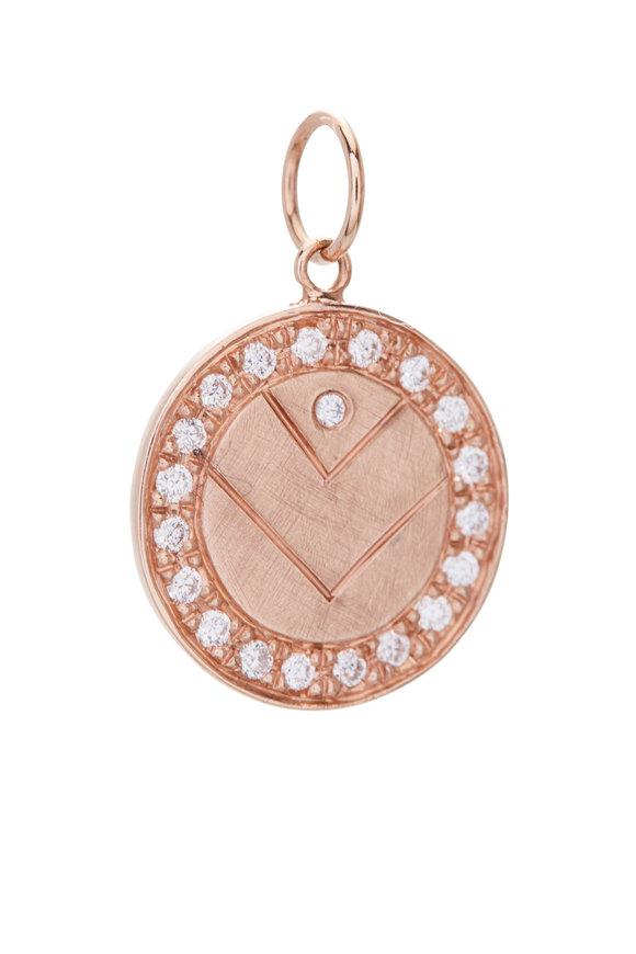 Julez Bryant 14K Rose Gold Diamond V Medallion
