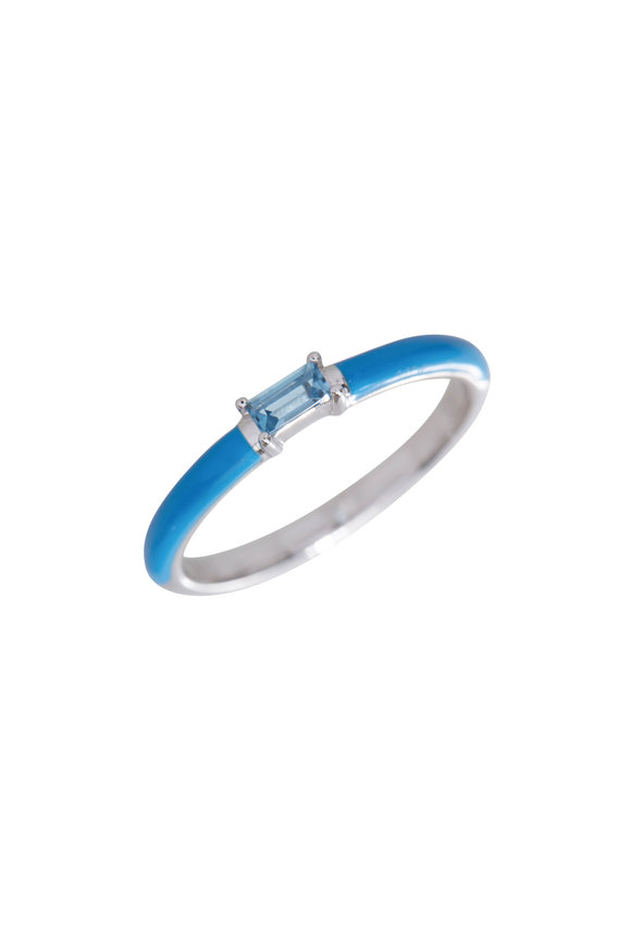 My Story Jewel 14K White Gold Powder Blue Enamel Ring