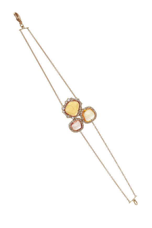 Kimberly McDonald Yellow Sapphire & Diamond Double Chain Bracelet