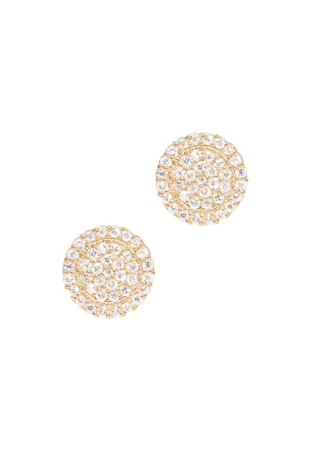 Yellow Gold Pavé-Set Diamond Stud Earrings