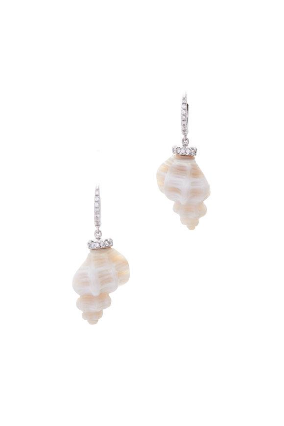 Kimberly McDonald 18K White Gold Chalcedony Striped Shell Earrings