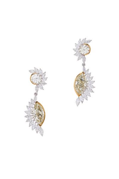 Lowy & Co - Yellow & White Diamond Earrings