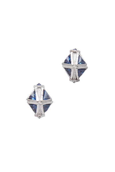 James Banks - Argyle Pink Gold Triangle Sapphire Earrings