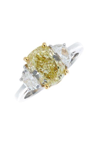Louis Newman - White & Fancy Yellow Diamond Ring