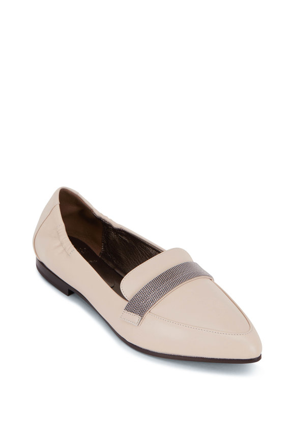 Brunello Cucinelli Rice Leather Monili Flat