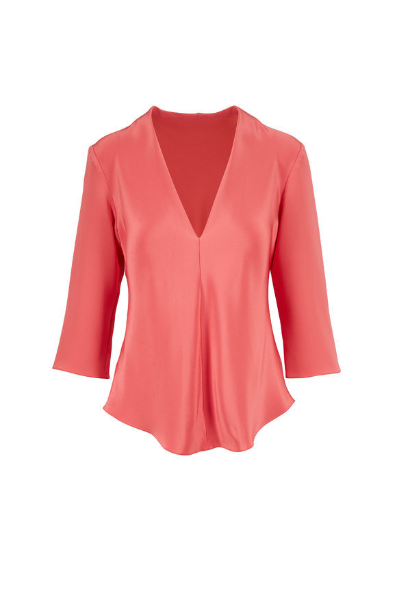 Peter Cohen Tuck Pink Silk Blouse