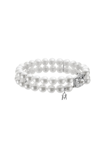 Mikimoto - White Gold Pearl Diamond Bracelet