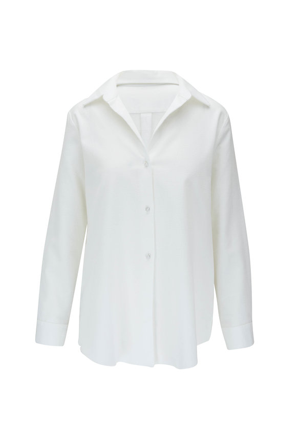 Peter Cohen White Stretch Linen Button Down