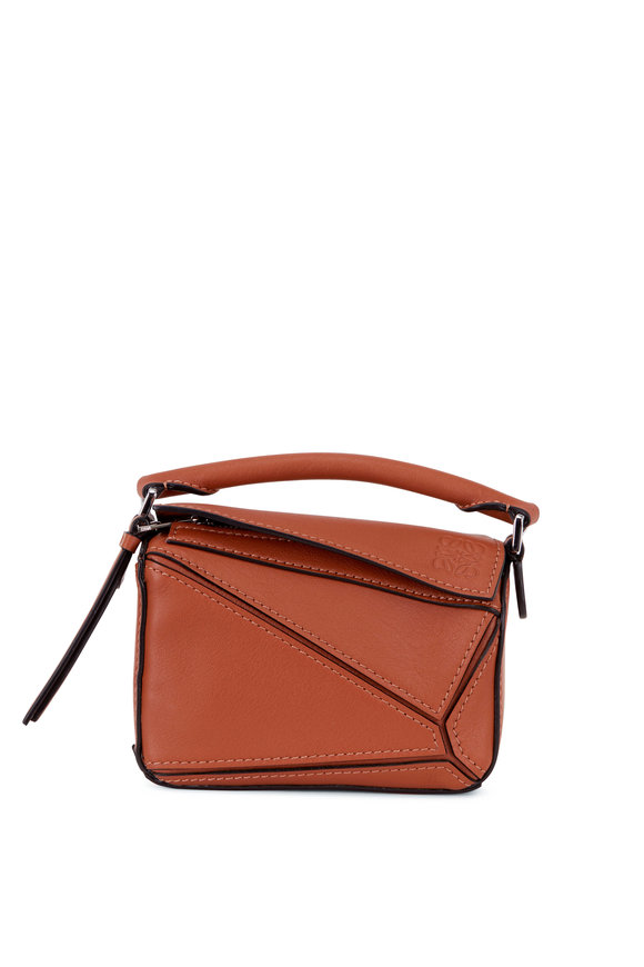 Loewe Nano Puzzle Tan Leather Crossbody Bag