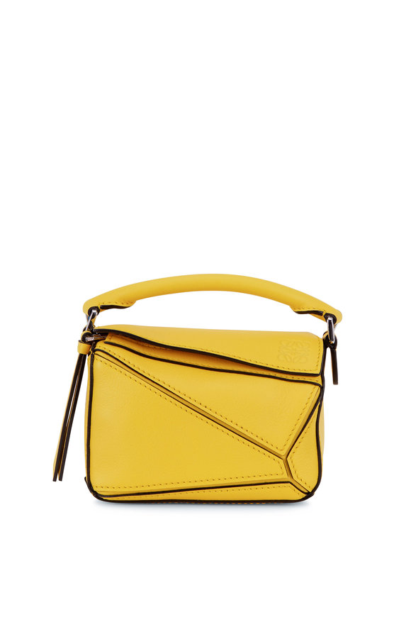 Loewe Nano Puzzle Yellow Leather Crossbody Bag