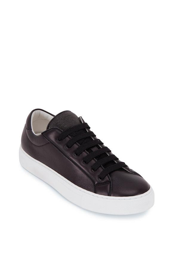 Brunello Cucinelli Black Leather Monili Tongue Sneaker