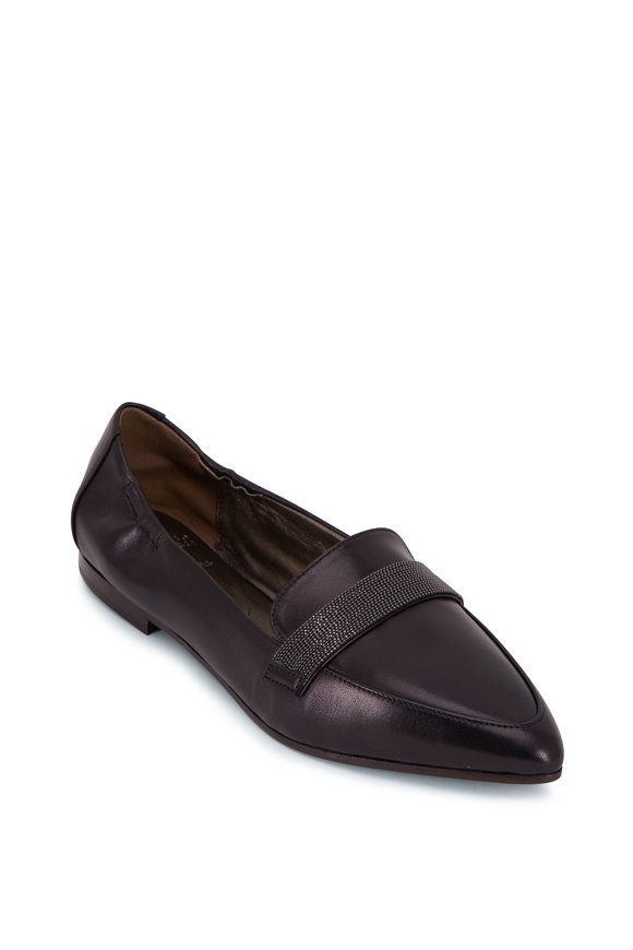 Brunello Cucinelli Black Leather Monili Flat