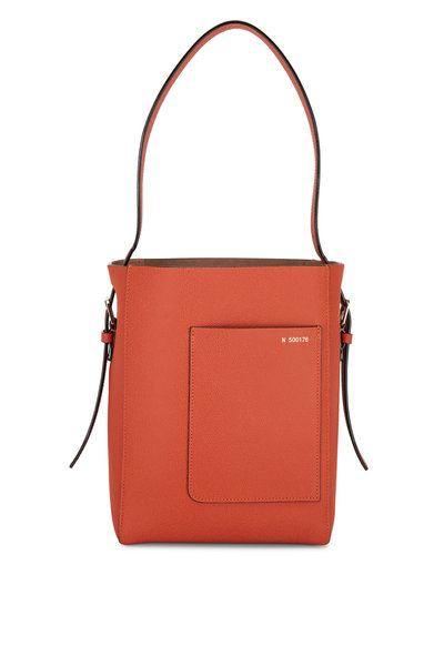 Valextra - Tangerine Leather Small Bucket Bag