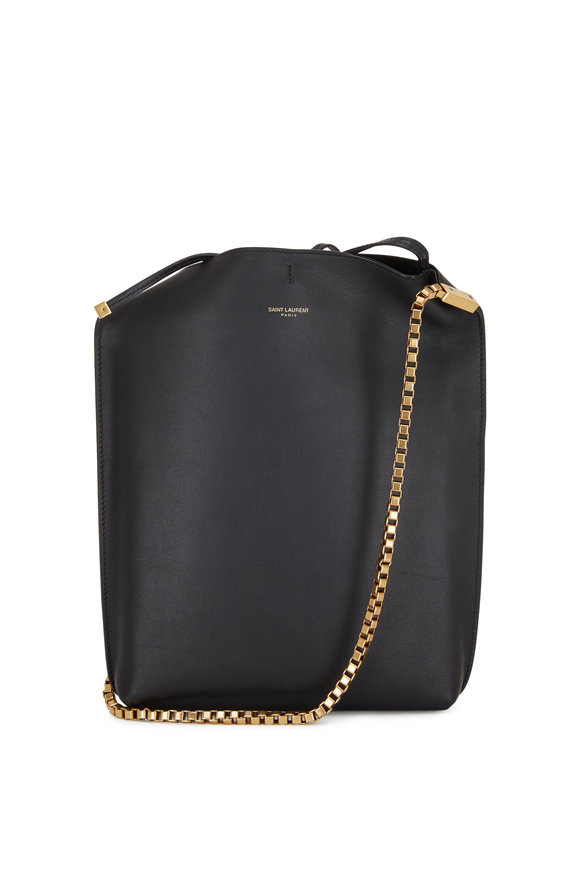 Saint Laurent Suzanne Black Leather Small Hobo Bag