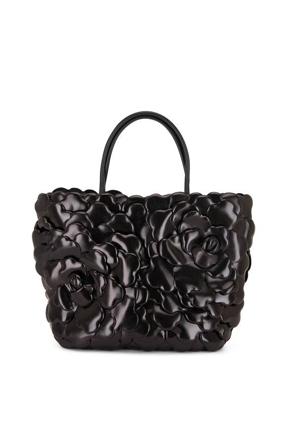 Valentino Garavani Atelier Black Leather Rose Edition Mini Tote Bag