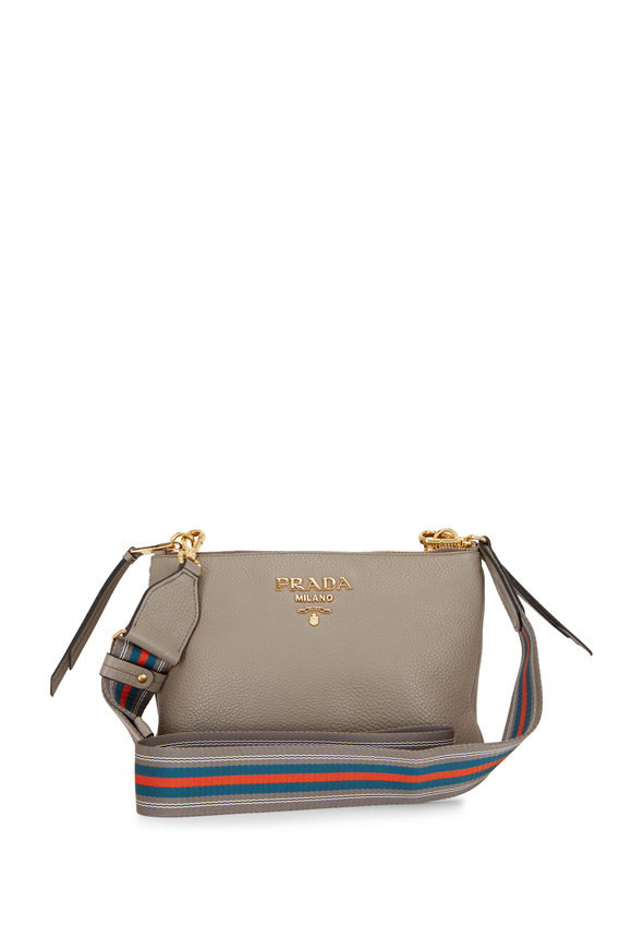 Prada Clay Gray Leather Two Zip Crossbody Bag