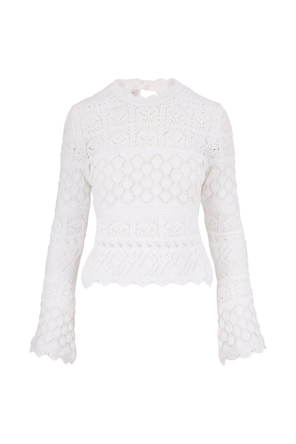 Carolina Herrera White Cotton Macramé Sweater