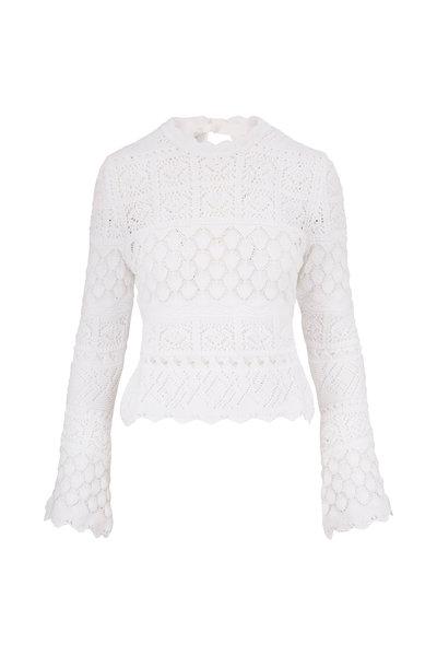 Carolina Herrera - White Cotton Macramé Sweater