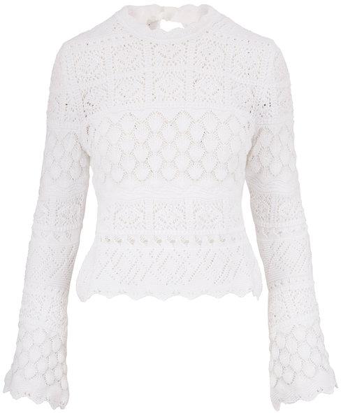 Carolina Herrera White Cotton Macramé Sweater