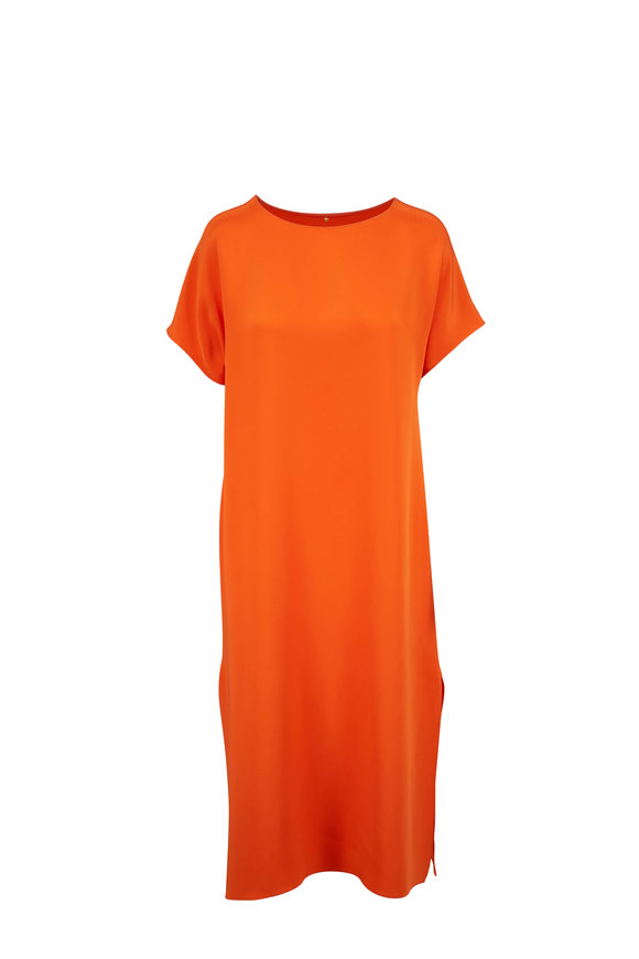 Peter Cohen Papaya Silk Short Sleeve Dress