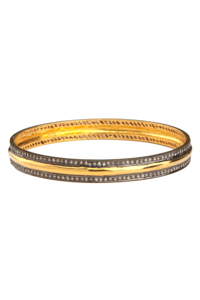 Loren Jewels - Yellow Gold & Silver White Diamond Bangle Bracelet
