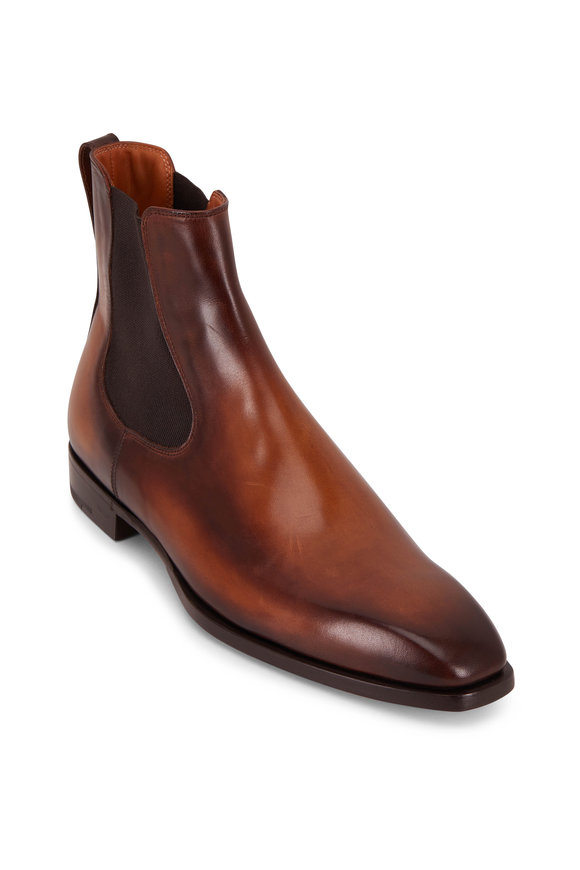 Berluti Brown Burnished Leather Chelsea Boot