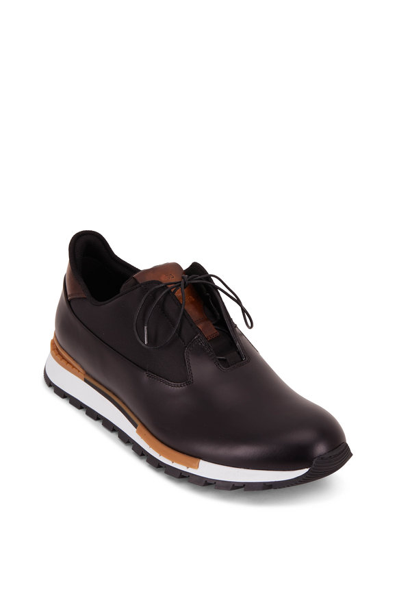 Berluti Fast Track Black Torino Glazed Leather Sneaker