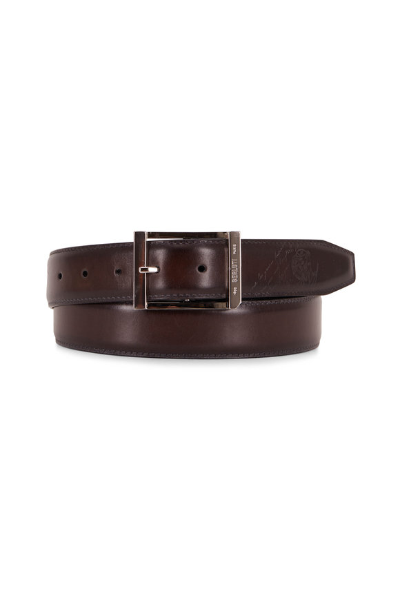 Berluti Ice Black Leather Belt