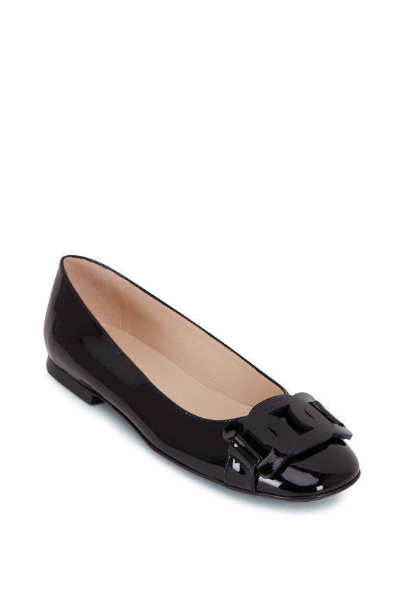 Tod's Black Patent Leather Chain Ballerina Flat