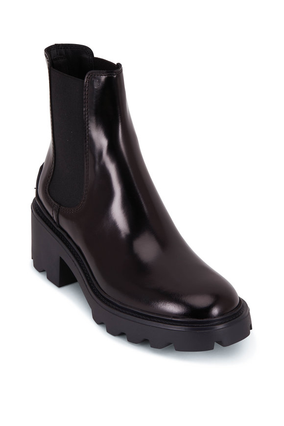 Tod's Black Patent Leather Lug Sole Biker Boot