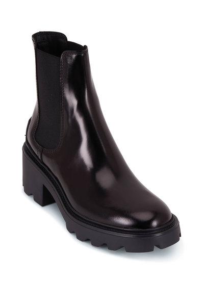 Tod's - Black Patent Leather Lug Sole Biker Boot