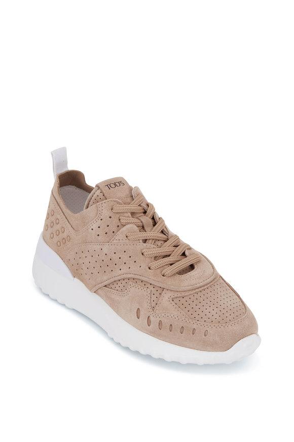 Tod's Fondo Sportivo Tan Perforated Suede Sneaker