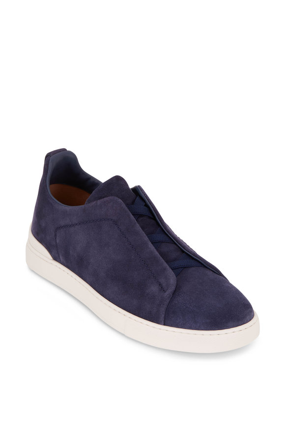 Ermenegildo Zegna Medium Blue Suede Triple Stitch Sneaker