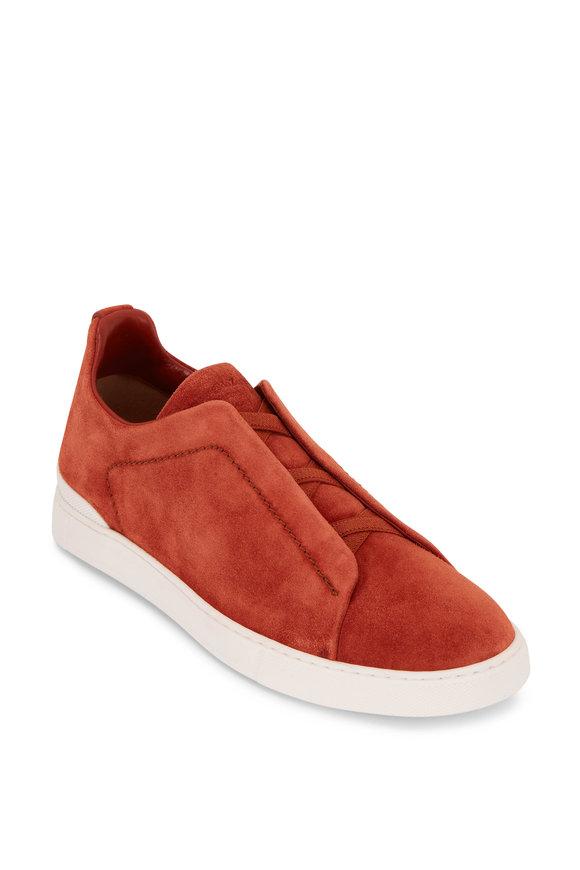 Ermenegildo Zegna Rust Suede Triple Stitch Sneaker