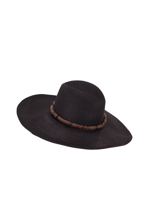Brunello Cucinelli Black Straw Woven Monili Wrapped Hat