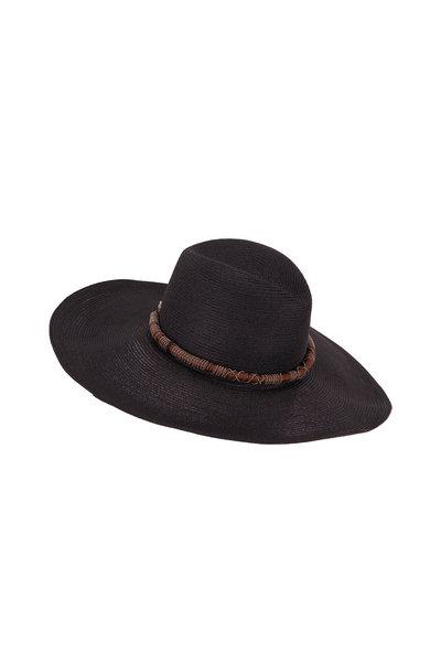 Brunello Cucinelli - Black Straw Woven Monili Wrapped Hat