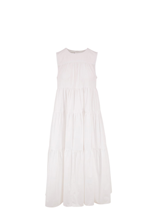 CO Collection White Cotton Tiered Sleeveless Dress