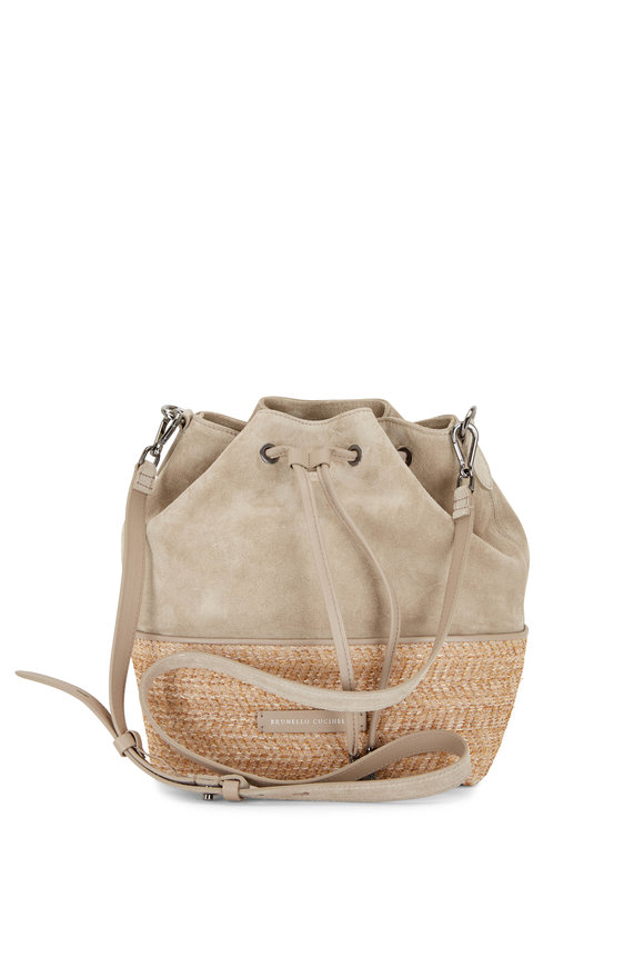 Brunello Cucinelli Earth Suede & Raffia Drawstring Bucket Bag