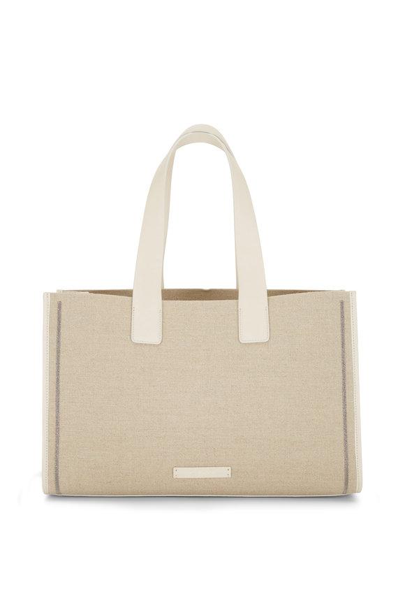 Brunello Cucinelli Corda Natural Linen & Leather Tote Bag