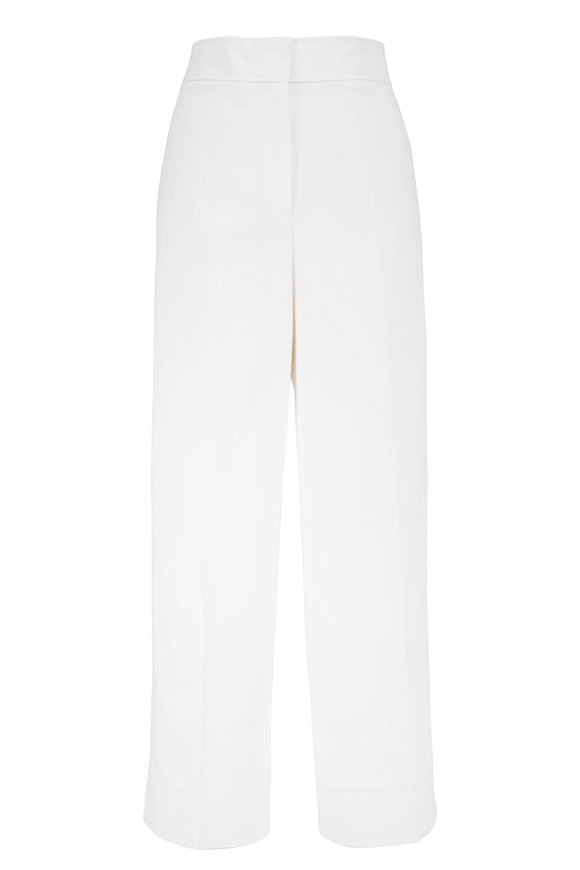 Akris Punto Chieko Cream Straight Leg Cropped Pant
