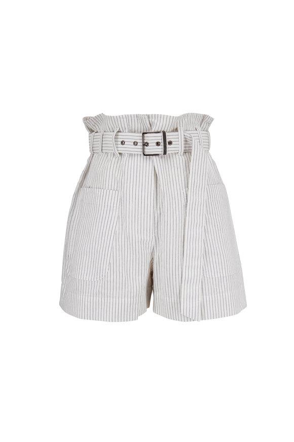 Brunello Cucinelli White Pinstripe Linen Belted Short