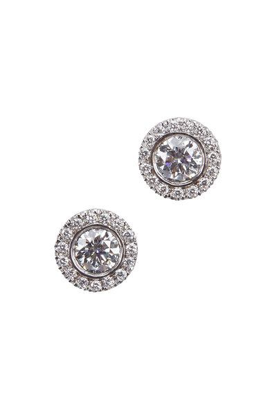 Kwiat - Silhouette White Gold White Diamond Stud Earrings
