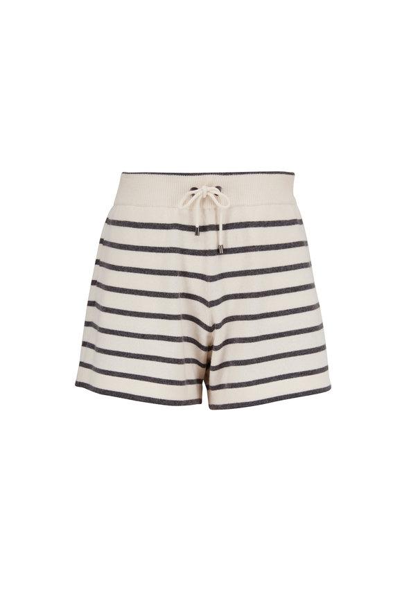 Brunello Cucinelli Ecru Cashmere & Wool Stripe Spa Shorts