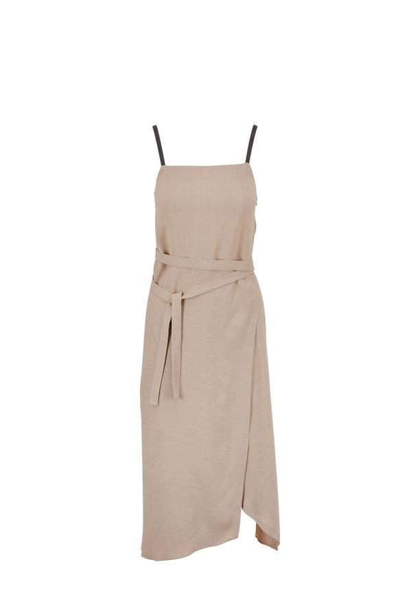 Brunello Cucinelli Light Taupe Linen Monili Strap Dress