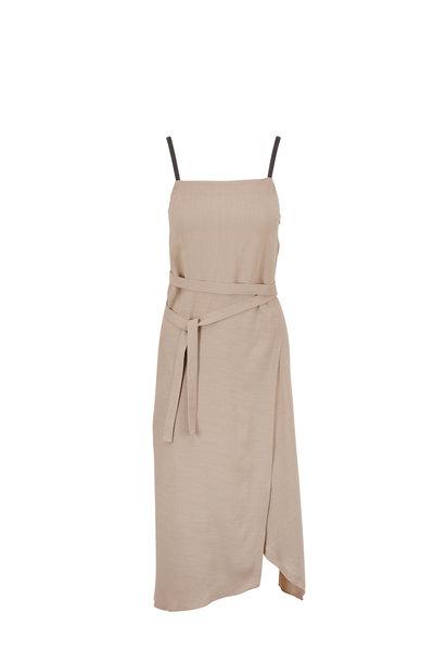 Brunello Cucinelli - Light Taupe Linen Monili Strap Dress