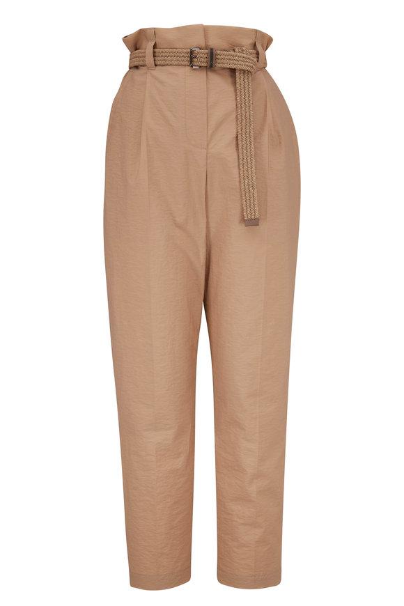 Brunello Cucinelli Khaki Poplin Cuffed Belted Pant